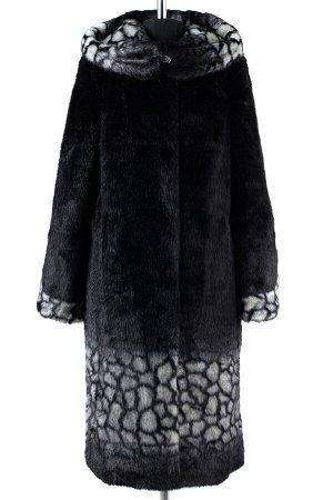 02-1255 Пальто шуба искусственная женская SALE Искусственный мех черно-серый