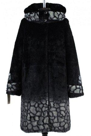 02-1272 Пальто шуба искусственная женская Искусственный мех черно-серый