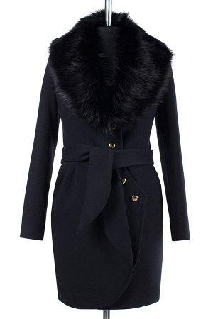02-1858 Пальто женское утепленное (пояс) Пальтовая ткань черный