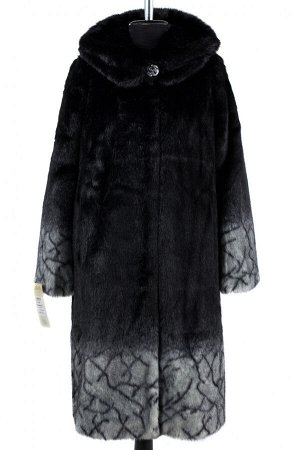 02-1262 Пальто шуба искусственная женская SALE Искусственный мех черно-серый