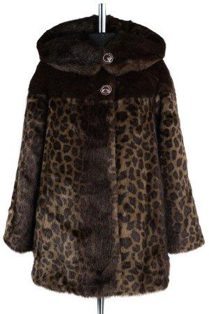 02-1277 Пальто шуба искусственная женская Искусственный мех Темный леопард