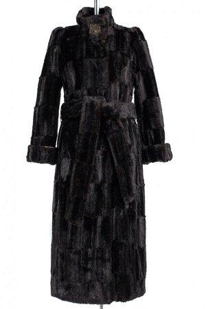 02-0765 Пальто женское утепленное (пояс) Искусственный мех черный