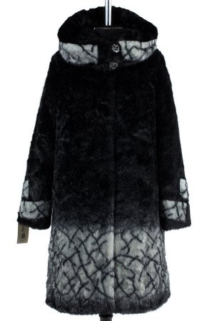 02-1270 Пальто шуба искусственная женская Искусственный мех черно-серый