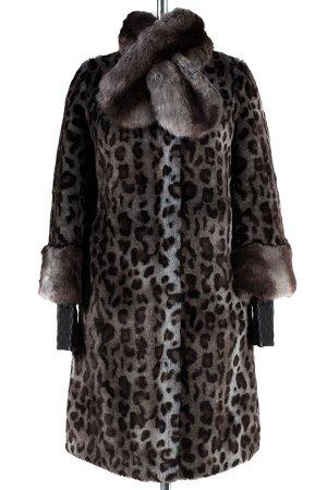 02-0763 Пальто женское утепленное Искусственный мех Серо-коричневый