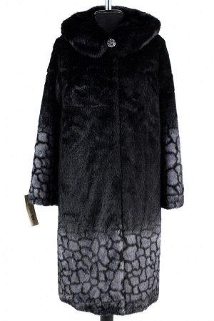 02-1261 Пальто шуба искусственная женская SALE Искусственный мех черно-серый