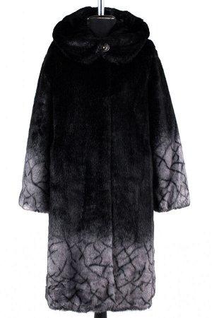 02-1258 Пальто шуба искусственная женская SALE Искусственный мех черно-серый