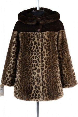 02-1249 Пальто шуба искусственная женская Искусственный мех Светлый леопард