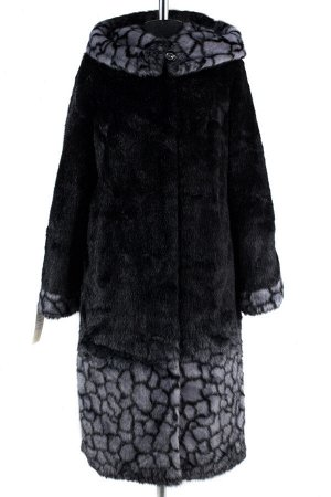 02-1256 Пальто шуба искусственная женская SALE Искусственный мех черно-серый