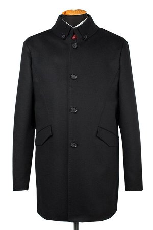 07-0115 Пальто мужское утепленное Микроворса/Рубчик черный