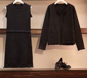 костюм трикотаж платье и кофточка с карманами на невысокий рост до 50разм