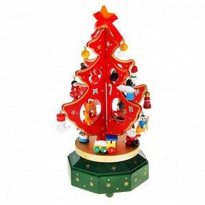 """Сувенир новогодний """"Елка на подставке с игрушками"""", 18 предметов, музыкальная, заводная"""