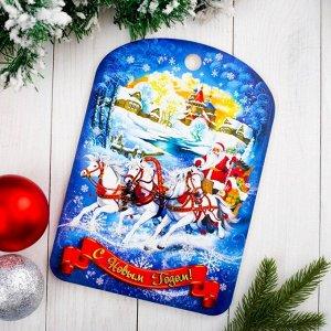 """Доска разделочная сувенирная """"С Новым годом. Лошади"""", 27,5х19,5см"""