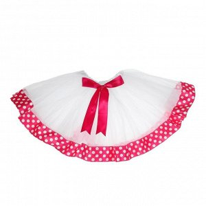 Карнавальная юбка «Горох», 3-х слойная, с бантиком, 4-6 лет, цвет розовый