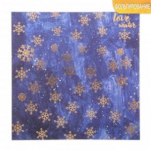 Бумага для скрапбукинга с фольгированием «Снежинки» 15,5 х 15,5 см, 250г/м