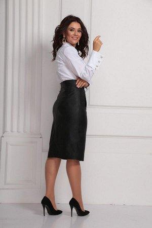 Юбка миди полиэстер-100% Рост: 170 см. Стильная женская юбка из стрейчевой эко-кожи.Силуэт юбки-карандаш. На переднем полотнище настрочены листочки,которые имитируют карман. В центральной части не рас