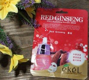 EKEL Ультраувлажняющая тканевая маска для лица с экстрактом красного женьшеня 25г