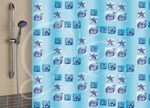 Штора для ванной комнаты, 180 х 180 см, с кольцами, полиэтилен, голубой, РАКУШКИ New, 1/40
