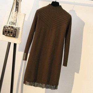 Платье с кружевами,коричневый подойдет на 50-52 размер