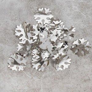 """Наполнитель для шара """"Конфетти снежинка"""" 3,5 см, фольга, цвет серебряный 500г"""