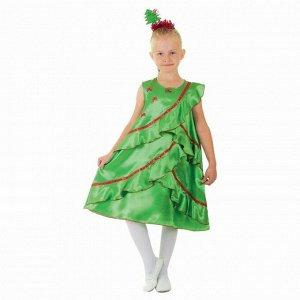 """Карнавальный костюм """"Ёлочка атласная"""", платье, ободок, р-р 32, рост 128 см"""