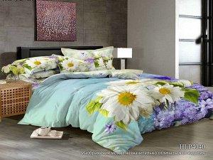 Постельное белье - Сатин Нимфа 2-спальный с Евро простыней (молния)