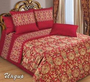 Постельное белье - Сатин Индия (бордо) 2-спальный с Евро простыней (молния)