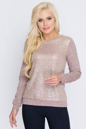 Блузка комбинированная из меланжевого трикотажа