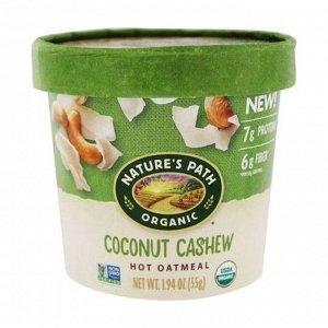 Овсяная каша органическая быстрого приготовления кокос, кешью, coconut cashew hot oatmeal, стакан