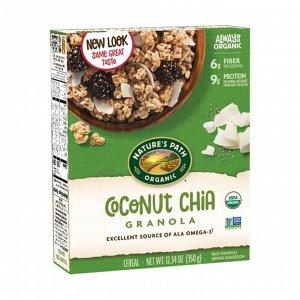 Гранола органическая с кокосом и семенами чиа chia plus coconut chia granola, карт. кор., 350г