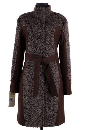 01-5134 Пальто женское демисезонное (пояс) Ворса/Сукно коричневый