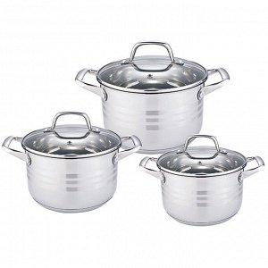 Набор посуды 6 предметов: 3 кастрюли (2,2 л, 3 л, 4 л) из нержавеющей стали со стеклянными крышками BE-621/6