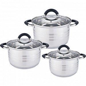 Набор посуды 6 предметов: 3 кастрюли (2,2 л, 3 л, 4 л) из нержавеющей стали со стеклянными крышками BE-623/6