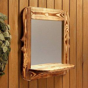 Зеркало резное с полкой, обожжённое, 53?53?1,6 см