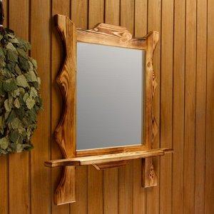 """Зеркало резное """"Квадрат"""" с полкой, обожжённое, 53?53?15 см"""