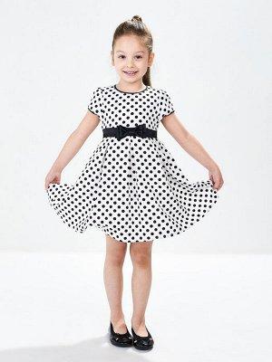 Платье (98-122см) UD 6271(1)бел/чер горошек