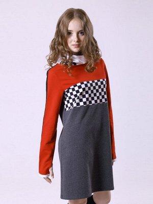 Платье А-силуэта с воротником труба для девочки