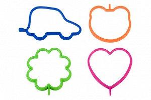 """Набор форм д/яичн и олад 4 шт. 14*11*0,8 см """"Машина, Сердце, Медведь, Цветок"""" син, зел, оран, малин"""