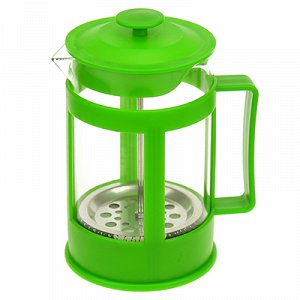 Френч-пресс пластмассовый корпус 800мл, д9,6см h18см, стеклянная колба, зеленый, в подарочной коробке (Китай)