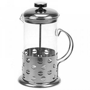 """Френч-пресс корпус из нержавеющей стали """"Кофе-зерна"""" 600мл, д8,7см h19,5см, стеклянная колба, в подарочной коробке (Китай)"""