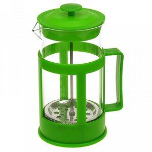 Френч-пресс пластмассовый корпус 1000мл, д10см h20,5см, стеклянная колба, зеленый, в подарочной коробке (Китай)