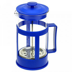 Френч-пресс пластмассовый корпус 1000мл, д10см h20,5см, стеклянная колба, синий, в подарочной коробке (Китай)
