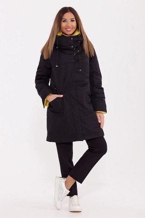 #77255 Пальто Черный/желтый