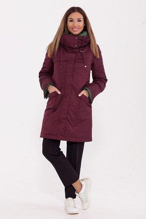 #77257 Пальто Винный/зеленый