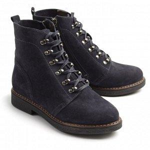 Ботинки зимние женские, синий нубук