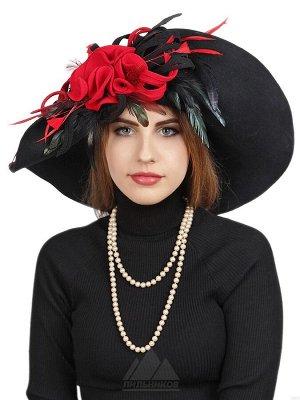 ШляпаМегги ЦВЕТ НА ВЫБОР: Черный с красным, Шляпа «Мегги» - женский головной убор из натурального шерстяного фетра. Эксклюзивная роскошная модель с широким волнообразным полем, украшенным сбоку объемн
