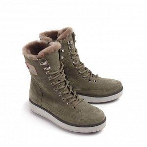 Ботинки зимние женские, хаки нубук