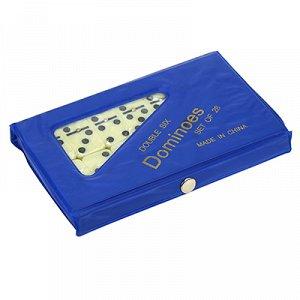 Домино пластмассовое, кость 2х4х0,5см, в п/эт цветной коробке 15х9х1,5см, цвета микс (Китай)
