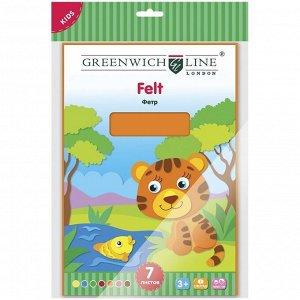 Цветной фетр Greenwich Line, А4, 7л., 7цв., в пакете с европодвесом