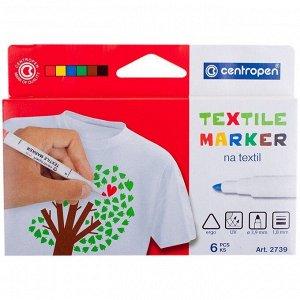 """Набор маркеров для ткани Centropen """"2739"""" 06цв., картон. уп., европодвес"""