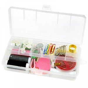 Набор для шитья 18 предметов: цветные нитки - 8 штук, ножницы, булавки, иголки, сантиметр, наперсток, нитковдеватель, кусачки, скрепки, пуговицы, игольница, в пластмассовой коробке 17,5х9,5х4см (Китай